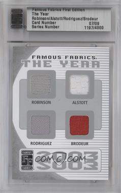 2010 Famous Fabrics First Edition The Year Silver #07 - David Robinson, Mike Alstott, Ivan Rodriguez, Martin Brodeur /9
