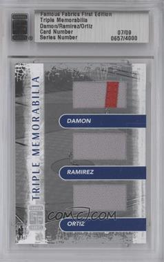 2010 Famous Fabrics First Edition Triple Memorabilia Silver #07 - Johnny Damon, Manny Ramirez, David Ortiz /9