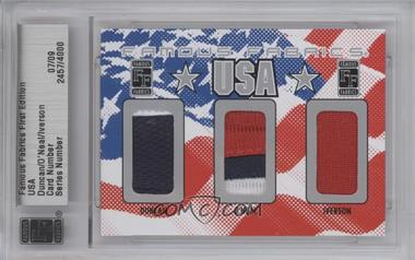 2010 Famous Fabrics First Edition USA Silver #N/A - Tim Duncan, Shaquille O'Neal, Allen Iverson /9
