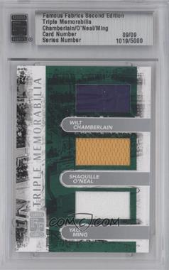2010 Famous Fabrics Second Edition Triple Memorabilia Silver #COM - Wilt Chamberlain, Shaquille O'Neal, Yao Ming /9 [ENCASED]
