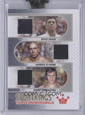 2010 Sportkings Series D - Triple Memorabilia - Gold #TM-04 - Royce Gracie, Georges St-Pierre, Bruno Sammartino