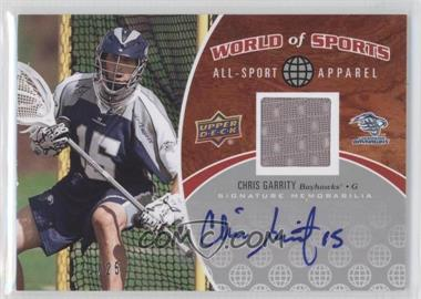 2010 Upper Deck World of Sports All-Sport Apparel Autographs #ASA-55 - Chris Garrity /25