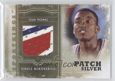 2012 Sportkings Series E - Single Memorabilia - Silver Patch #SM-11 - Isiah Thomas /9