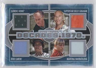 2012 Sportkings Series E Decades Silver #D-02 - Gordie Howe, Superstar Billy Graham, Rod Carew, Martina Navratilova /40