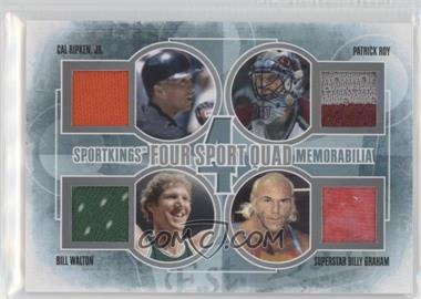 2012 Sportkings Series E Four Sport Quad Memorabilia Silver #FSQM-03 - Patrick Roy, Bill Walton, Superstar Billy Graham, Cal Ripken Jr. /30