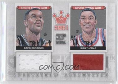 2012 Sportkings Series E Redemption Double Memorabilia Silver #SKR-34 - David Robinson, Isiah Thomas /19