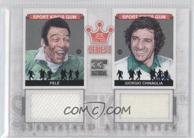2012 Sportkings Series E Redemption Double Memorabilia Silver #SKR-44 - Pele, Giorgio Chinaglia /19