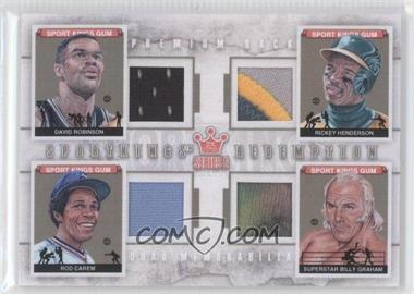 2012 Sportkings Series E Redemption Quad Memorabilia Premium Back #SKEQM03 - David Robinson, Rickey Henderson, Rod Carew, Superstar Billy Graham /10