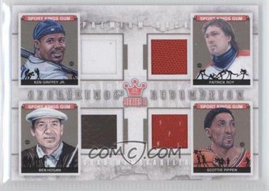 2012 Sportkings Series E Redemption Quad Memorabilia Premium Back #SKEQM04 - Ken Griffey Jr., Patrick Roy, Ben Hogan, Scottie Pippen /10
