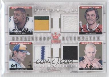 2012 Sportkings Series E Redemption Quad Memorabilia Premium Back #SKEQM10 - Reggie White, Guy Lafleur, Paul Molitor, Georges St-Pierre /10