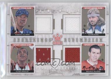 2012 Sportkings Series E Redemption Quad Memorabilia Premium Back #SKR-02 - Roberto Alomar, Bjorn Borg, Clyde Drexler, Maurice Richard /10