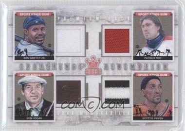 2012 Sportkings Series E Redemption Quad Memorabilia Premium Back #SKR-04 - Ken Griffey Jr., Patrick Roy, Ben Hogan, Scottie Pippen /10