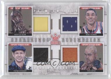 2012 Sportkings Series E Redemption Quad Memorabilia Premium Back #SKR-08 - Seattle Slew, Isiah Thomas, Payne Stewart, Tito Ortiz /10