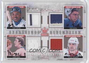 2012 Sportkings Series E Redemption Quad Memorabilia Premium Back #SKR-09 - Tony Gwynn, Bob Hayes, Larry Bird, Steve Yzerman /10