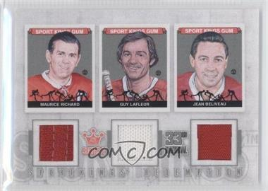 2012 Sportkings Series E Redemption Triple Memorabilia Silver #SKR-48 - Maurice Richard, Guy Lafleur, Jean Beliveau