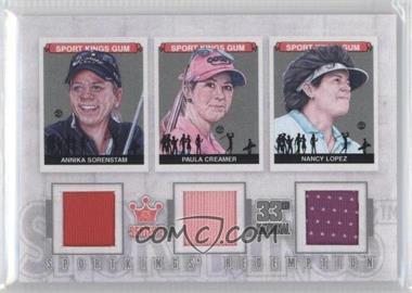 2012 Sportkings Series E Redemption Triple Memorabilia Silver #SKR-49 - Annika Sorenstam, Paula Creamer, Nancy Lopez /19