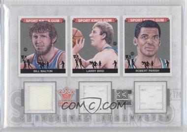 2012 Sportkings Series E Redemption Triple Memorabilia Silver #SKR-50 - Bill Walton, Larry Bird, Robert Parish
