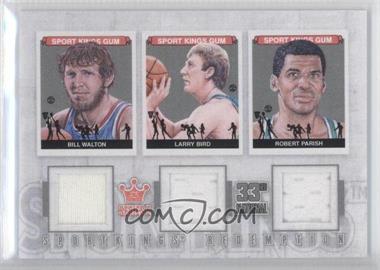2012 Sportkings Series E Redemption Triple Memorabilia Silver #SKR-50 - Bill Walton, Larry Bird, Robert Parish /19