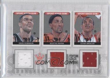 2012 Sportkings Series E Redemption Triple Memorabilia Silver #SKR-53 - Scottie Pippen, Clyde Drexler
