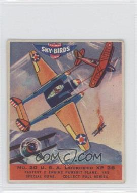 1941 Goudey Sky-Birds Chewing Gum R137 #20 - U.S.A. Lockheed XP 38
