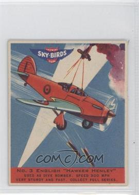 """1941 Goudey Sky-Birds Chewing Gum R137 #3 - English """"Hawker Henley"""""""