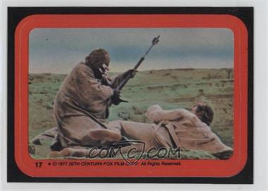 1977 Topps Star Wars Stickers #17 - Tusken Raider Attacks Luke