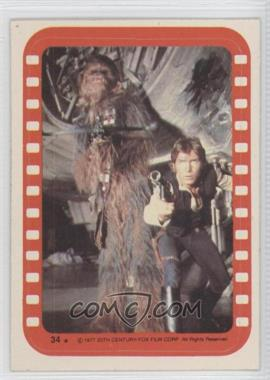 1977 Topps Star Wars Stickers #34 - Chewbacca and Han [Poor to Fair]