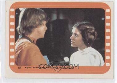 1977 Topps Star Wars Stickers #54 - Luke Skywalker and Princess Leia
