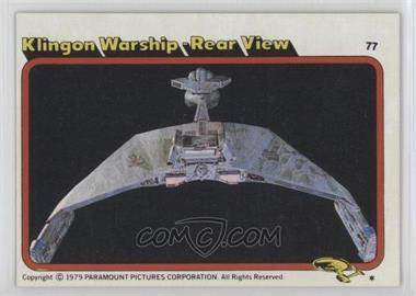 1979 Topps Star Trek: The Motion Picture - [Base] #77 - Klingon Warship - Rear View