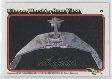 1979 Topps Star Trek: The Motion Picture #77 - Klingon Warship - Rear View
