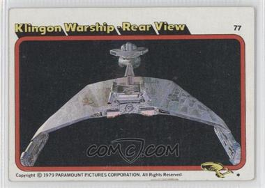 1979 Topps Star Trek: The Motion Picture #77 - Klingon Warship - Rear View [Good to VG‑EX]
