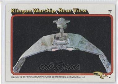 1979 Topps Star Trek: The Motion Picture #77 - Klingon Warship - Rear View