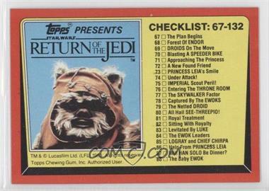 1983 Topps Star Wars: Return of the Jedi - [Base] #132 - Checklist: 67-132