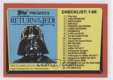 1983 Topps Star Wars: Return of the Jedi [???] #131 - Checklist: 1-66