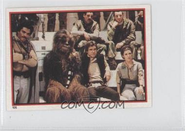 1983 Topps Star Wars: Return of the Jedi Album Stickers #105 - Lando Calrissian, Chewbacca, Han Solo, Leia Organa