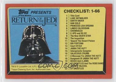 1983 Topps Star Wars: Return of the Jedi #131 - Checklist: 1-66