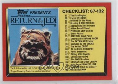 1983 Topps Star Wars: Return of the Jedi #132 - Checklist: 67-132
