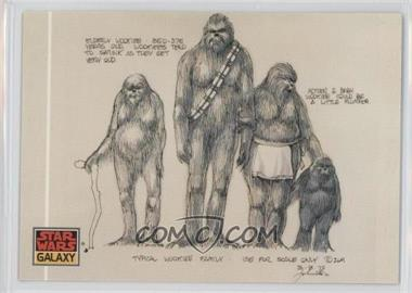 "1993 Topps Star Wars Galaxy #19 - The Design of Star Wars - ""Typical Wookiee Family"""