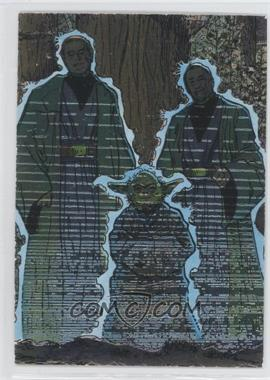 1995 Topps Star Wars Galaxy Series 3 Etched Foil #18 - Anakin Skywalker, Yoda, Ben (Obi-Wan) Kenobi