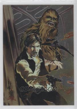 1996 Topps Finest Star Wars Binder Bonus Refractor #1 - Han Solo & Chewbacca