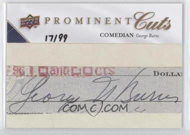 2009 Upper Deck Prominent Cuts Cut Signatures #PC-GE - George Burns /99