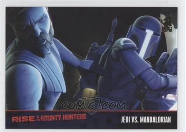 2010 Topps Star Wars: Clone Wars Rise of the Bounty Hunters Foil Stamp #57 - Jedi vs. Mandalorian /100