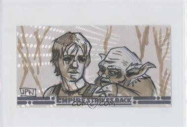 2010 Topps Star Wars: The Empire Strike Back 30th Anniversary 3D Widescreen - Sketch Cards #JWLY - John P. Wales (Luke Skywalker, Yoda)