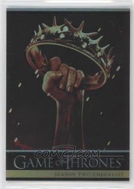 2013 Rittenhouse Game of Thrones Season 2 Foil #87 - Season Two Checklist