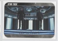 As Scotty prepared to beam Kirk and Spock aboard…