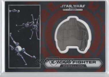 2014 Topps Star Wars Chrome Perspectives Helmet Medallion Silver #15 - X-Wing Fighter (short print)