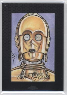 2014 Topps Star Wars Chrome Perspectives Sketch Cards #LWC3 - Lin Workman (C-3PO)