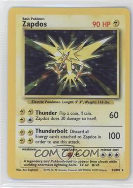 1999 Pokemon Base Set Booster Pack [Base] Unlimited #16 - Zapdos