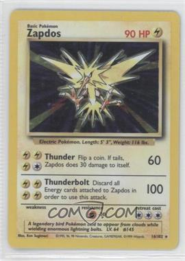 1999 Pokemon Base Set Booster Pack [Base] Unlimited #16 - Zapdos