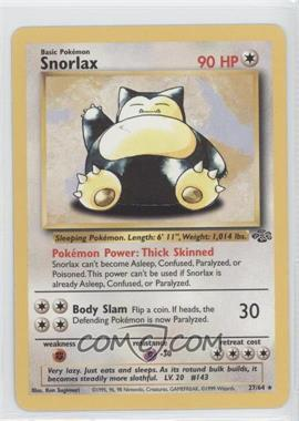 1999 Pokemon Jungle Booster Pack [Base] Unlimited #27 - Snorlax